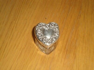 Antique Heart Shaped Sterling Silver & Cut Glass Box Birmingham 1903