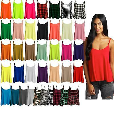 Womens New Plain Swing Cami Vest Sleeve Less Top Strappy Ladies Plus Size Flared