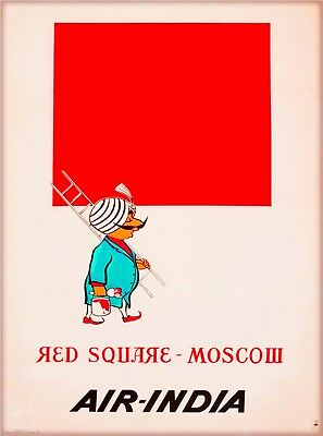 Moscow Russia Red Square Air India Vintage Travel Advertisement Poster Print
