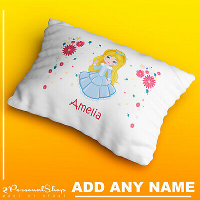 Personalised Children Princess Pillow Case Printed Gift Custom Print New 101