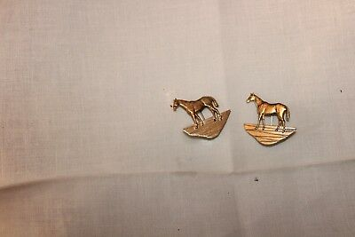 Sterling horse pin x (2) signed