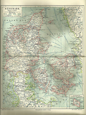 1903 Dänemark - Original alte Landkarte Karte Antique Map Skandinavien