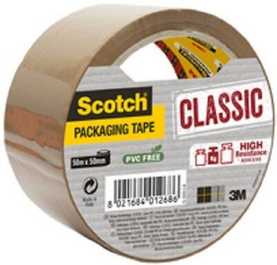 3M Scotch Ruban adhésif d'emballage CLASSIC, 50 mm x 50 m, marron