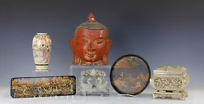 Lot Of Misc Old Asian Chinese Japanese Thai Items Carvings Vase Box Statue Etc