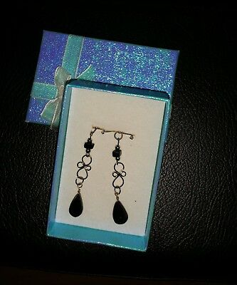 Alpaca Silver Earrings With Black Stone, Gift Boxed