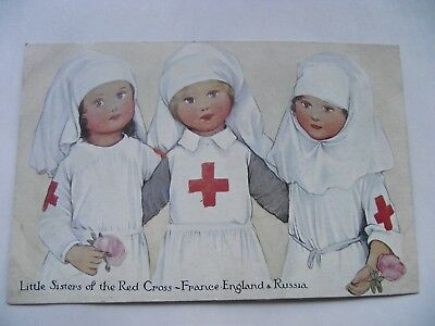 WW1 Postcard 'Little Sisters of the Red Cross - France England & Russia'