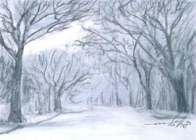 ACEO original pastel drawing landscape winter snow alley by Anna Hoff