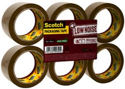 3M Scotch Ruban adhésif d'emballage LOW NOISE, 50 mm x 66 m, marron