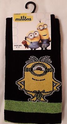 NEW WITH TAGS Mens Black/Green Stripe Despicable Me Minion Socks Size 6-11 39-46