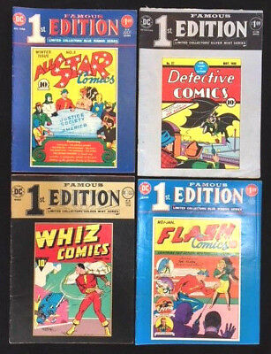 Lot of 4 Treasury Famous 1st Edition DC Comics Whiz All Star Flash #1 Detective