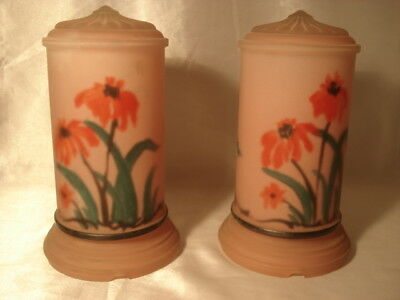 Pair of Antique Vanity Reverse Hand Painted Lamp Shades Flowers Poppies?