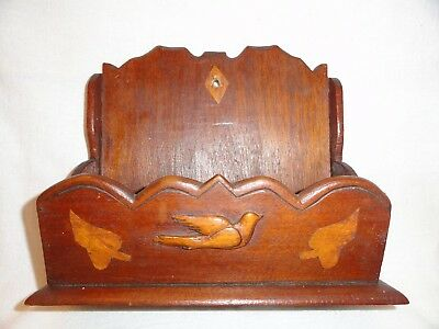 Antique Victorian Inlay Wood Wall Pocket Letter Mail Comb Case Shabby Chic Tramp