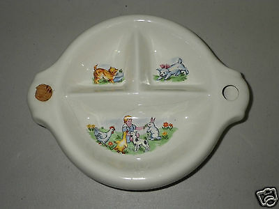 Vintage Childs Baby Collectable Divided Warming Dish Bowl - Kitten Puppy Bunny