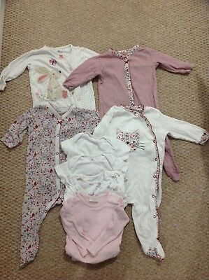NEXT baby girl 6-9 Months babygrows sleepsuits long and short sleeved