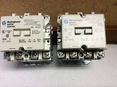 2 - Westinghouse A201K1Ca Electric Contactor 6710C54G06 Starter Size 1