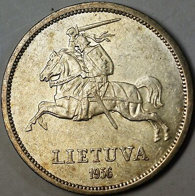 1936 Lithuania 5 Litai Average Circulated Knight Silver Coin