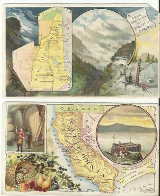 TWO 1800s TRADE CARDS for ARBUCKLE'S COFFEE CALIFORNIA WINE & NEW HAMPSHIRE ROCK
