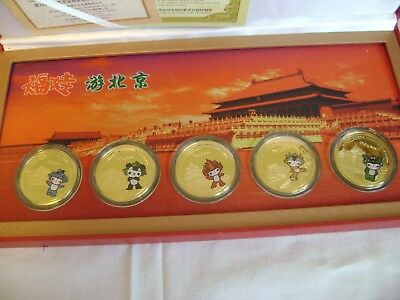 Chinese Set of 5 Beijing Commemorative Olympic Gold Plated Medallions/Coins 2008