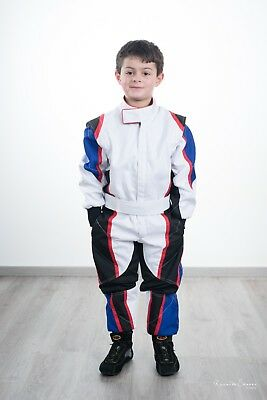 Go Kart Cordura Suit -White-Blue-Black with red piping- Kids-Mega Sale Offer