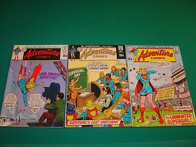 Adventure Comics 391 (VG+), 392 (VG+), 393 (GD/VG) 1970 Supergirl DC