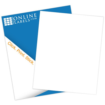 "8.5"" x 11"" Waterproof Sticker Paper (100 Sheets) Blank White Matte - Inkjet Only"
