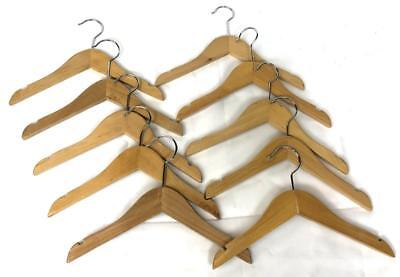 """Lot of 10 Brown REAL WOODEN Retail 11"""" Childrens Kids Boys Girls Clothes Hangers"""