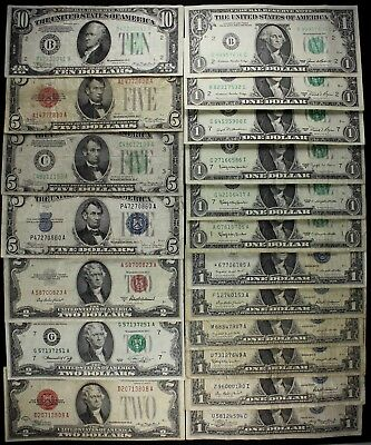 $43 Dollars old US money $10 $5 $2 $1 FRN US notes silver certs Star '28-'85 FSP
