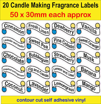 20 Candle Making Fragrance Labels of your choice adhesive vinyl Stickers decals