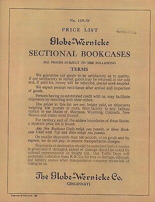 Rare 1915 Globe Wernicke® Sectional Bookcase Price List! Now Lower Priced Color