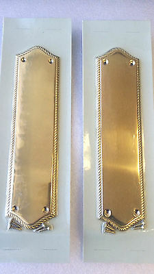 "2 Victorian Solid Brass Rope design 12""x3"" Door Push Plates By Vintage Hardware"