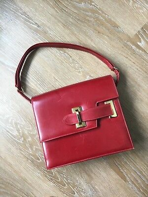 SAKS FIFTH AVENUE Vintage Square Leather Purse, Red
