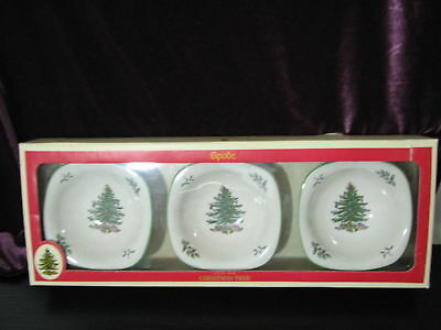 Vtg Spode Christmas Tree Set Of 3  Dip Dishes Snack Nuts In Original Box Nice