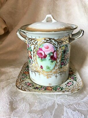 Victorian Condensed Milk Container with Lid & Underplate - Roses