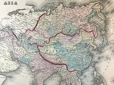 Asia China Russia Persia Cabool Toorkistan Europe Old Map 1875, O.W. GRAY & SON