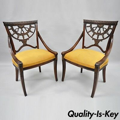 Pair of Antique French Regency Style Pierce Carved Mahogany Dining Room Chairs