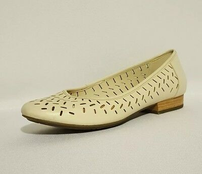 Active Nude Leather Cream Clarks Ladies Ballerinas Air Flats Genuine 6pnTTqS