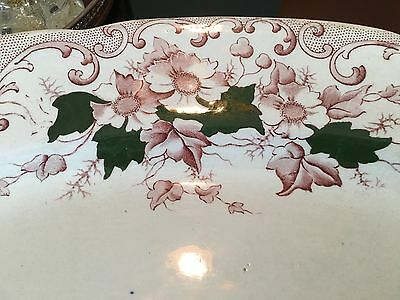 """Shabby 20"""" Hand Painted Green Leaves Victorian Wild Daisies Transfer Iron Ware"""