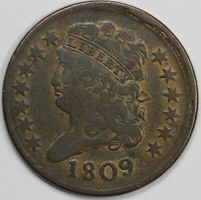 1809 1/2c Classic Head Half Cent UNSLABBED