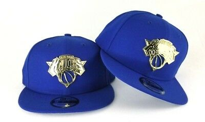5c2df937370 New Era Royal Blue New York Knicks Gold Metal Badge Logo 9Fifty Snapback Hat