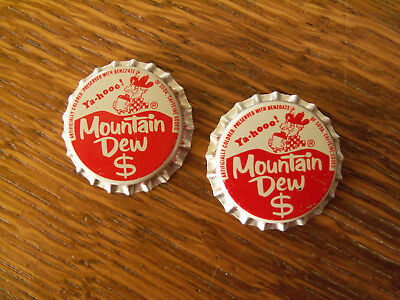 2 Vintage Unused Red & White $ Mountain Dew Cork Soda Bottle Caps Pepsico Inc.NY