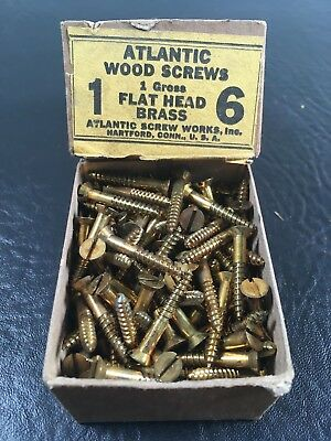 Vtg Atlantic #6 X 1 Inch Flat Head BRASS SLOTTED Wood Screws 144 box unused