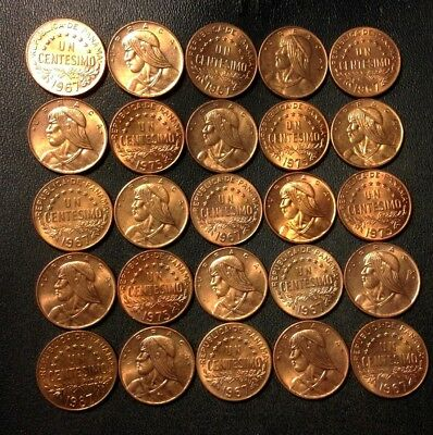 Old Panama Coin Lot - CENTESIMOS - 25 COINS - All Coins AU RED - Lot #F23