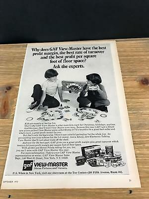 1972 VINTAGE 8X11 TOY TRADE INDUSTRY PRINT Ad FOR GAF View-Master KLOMP-IT GAME