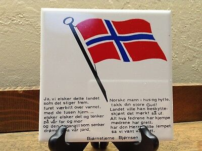 Vtg Norwegian Tile Art Wall Hanging White With Flag And Text Hand Painted