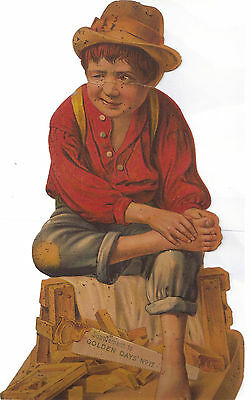 Large Victorian Chromolithograph of Barefoot Boy with Tools
