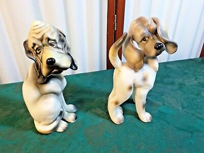 2 Adorable Vintage Bloodhound Figurines-Free Shipping