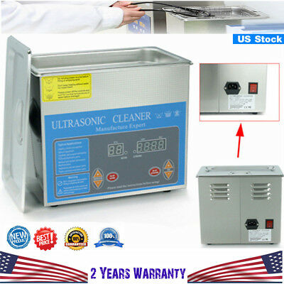 3L Industrial Ultrasonic Cleaner Heater w/Timer Heated Stainless Steel 120W NEW