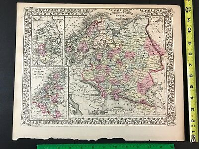 Russia Norway Sweden Denmark Holland 1800's Old Antique Map 1881 Mitchell