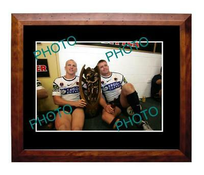 LOCKYER & WEBCKE 06 BRISBANE BRONCOS PREMIERS A3 PHOTOa