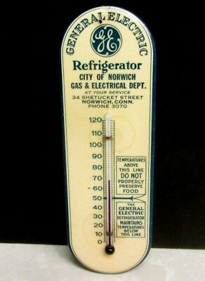 1930's General Electric Refrigerator Advertising Thermometer Norwich Connecticut